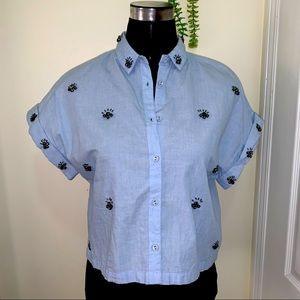 Zara EyeLet Detailing Cropped Button Down Shirt